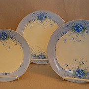 "Set of 3 Stouffer Studio H.P. China ""Forget-Me-Not"" Pattern Plates - Three Sizes"