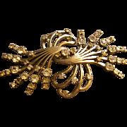 "SALE ""Pennino"" Floral Swag Sterling Silver & Diamond Rhinestone Brooch"