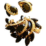 Juliana (DeLizza & Elster) Gold-Tone, Black & Aurora Borealis Rhinestone Brooch & Clip Earring