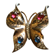 Trifari Alfred Philippe Sterling Silver Butterfly Brooch w/Ruby & Sapphire Cabs & Diamond ...
