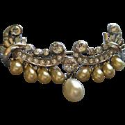 """""""DeRosa"""" Sterling Silver, Diamond Rhinestones & Faux Pearl Wing-Shaped Brooch"""