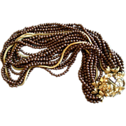 Coro Vendome Gold-Tone, Chocolate Beads & Amber Crystals Necklace