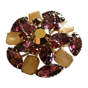 Juliana (DeLizza & Elster) Gold-Tone, Colored Rhinestones & MOP Brooch