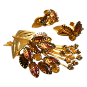 Juliana (DeLizza & Elster) Gold-Tone, Colored Rhinestones & Moulded Glass Brooch & Clip Earrin