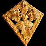 Black Hills Gold Quadrilateral-Shape Brooch w/Grape Motif