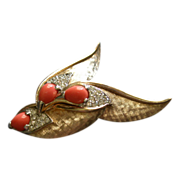 """Boucher"" Gold-Tone, Diamond Rhinestones & Coral Cabochons Bird Brooch"