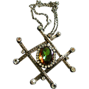 Juliana (DeLizza & Elster) Antique Silver-Tone, Diamond & Watermelon Rhinestone Pendant Neckla