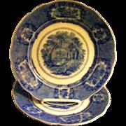 "Ridgways Flow Blue ""Oriental"" Pattern Luncheon Plates"