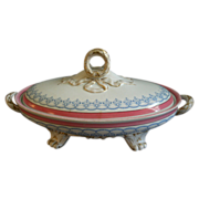 English Ironstone Oval Covered Vegetable Tureen w/Pink, Blue & Gold Decoration