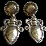Vintage 'Edouard Ramaud' Paris Antique Silver-Tone Baroque-Style Clip Earrings