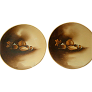"""Stouffer Studio H.P. """"Mixed Nuts"""" Motif - Pair of Cabinet Plates"""