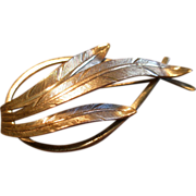 "Danecraft Sterling Silver Mid-Century ""Feather"" Motif Brooch"