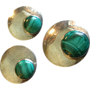 Mexican Sterling Silver & Malachite Circular Brooch & Clip Earrings