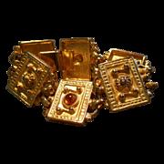 Ben Amun Gold-Tone & Amber Glass Cabochon Link Bracelet