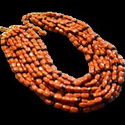"""Hattie Carnegie"" 12-Strand Gold-Tone & Faux Coral & Onyx Bead Choker Necklace"