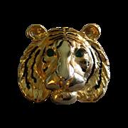 """Vintage Gold-Tone, Black Enamel & Emerald Rhinestone """"Lion Head"""" Brooch"""