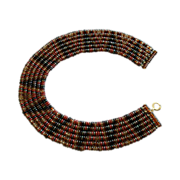 "6-Strand Multi-Color Beaded ""Tribal-Style"" Collar Necklace"