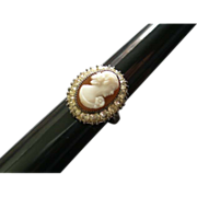 'Uncas' Mfg. Co. Sterling Silver, Moulded Cameo & Diamond Rhinestones Ring - Size 6