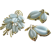 Boucher Marboux Silver-Tone w/Pastel Blue Thermoset Leaves Brooch & Earrings Set