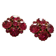 """Weiss"" Gold-Tone & Crimson Rhinestone Clip-Style Earrings Set"