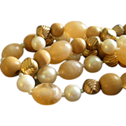"Vintage ""Cadoro""  Designer Antiques Gold-Tone, Faux Pearl, Swirl & Wood-Grained Bead"