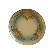 J.H. Stouffer Hand Painted Cabinet Plate w/Vivid Apple Blossom Floral Motif
