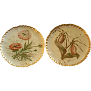 Pair of CFH/GDM Hand Painted Cabinet Plates w/Lady Slipper Orchid & California Poppy Floral Mo