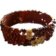 Vintage Russet, Dark Brown & Light Yellow Molded Floral Celluloid Bangle Bracelet