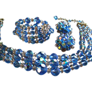 """Laguna"" Blue Cut Crystal & Lucite Bead Triple-Strand Necklace, Bracelet & Earrings"