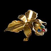 Hector Aguilar/Coro Gold Vermeil, Silver & Colored Rhinestone Cattleya Orchid Brooch