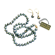 """""""Honora"""" Navy Blue Cultured Pearl Necklace and Pierced Earrings Set"""
