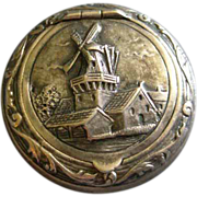 "Dutch Silver Repousse ""Windmill"" Scene Trinket/Pill Box"
