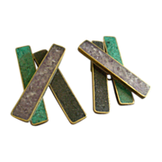 """Celia Sebiri"" Vintage Crossbar Style Clip Earrings w/Adventurine, Amethyst & On"