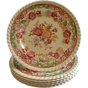"""SOLD Set of 6 Johnson Brothers Transfer """"Winchester"""" Pattern Bread & Butter Plates"""