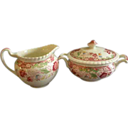 "Johnson Brothers Transfer ""Winchester"" Pattern Sugar Bowl & Creamer Set"
