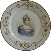 "Charles Haviland & Co. Hand Painted Portrait Plate ""Letizia Ramolino"" - Mother of Na"