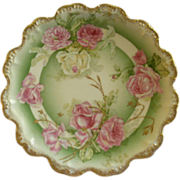 Coronet Limoges Cabinet Plate w/Transfer Tea Roses Decoration