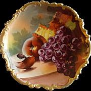 Lazeyras, Rosenfeld & Lehman Limoges Hand Painted Fruit Plate w/Grapes, Peaches & Fall Foliage