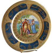 Royal Vienna Style Transfer & H.P. Cabinet Plate w/Cobalt & Gold Encrusted Border (Plate 6 of