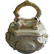 Victorian Fairing Ring Box w/Girl & Dog On A Titter-Totter Figural Lid