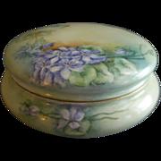 Delinieres Limoges Hand Painted Powder/Jewelry/Dresser Box w/Wild Spring Violets Motif