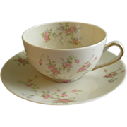 """Theodore Haviland, New York, """"Pink Spray"""" Pattern - Set of 10 Cups & Saucers"""