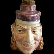 Sarreguemines Majolica Figural Face Liquor Bottle/Flask