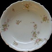 PH Leonard, Vienna, Austria, Porcelain Round Open Vegetable Bowl w/Pink & White Rose Motif