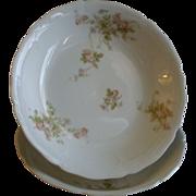 PH Leonard, Vienna, Austria, Porcelain Pair of Round Open Vegetable Bowls w/Pink & White Rose