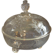 SOLD EAPG - Riverside Glass Works 'Grasshopper' Pattern Covered Compote