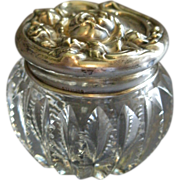 Brilliant Cut Glass Vanity/Dresser Jar w/Sterling Silver Floral Repousse Cover
