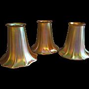 Set of 3 Steuben Unsigned Gold Aurene Trumpet/Morning Glory Shape Lamp Shades