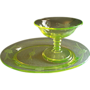 "Imperial Glass Company Vaseline (Uranium) ""Mah Jong"" Pattern Platter w/Sherbet - Set"