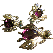 """SOLD """"Reja"""" Sterling Silver & Colored Rhinestones """"Flying Insect"""" Demi-Par"""